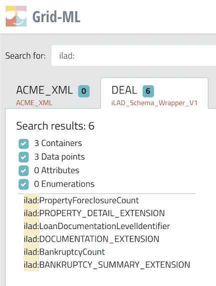 Searching for iLAD Extension Elements using XML Namespace Search